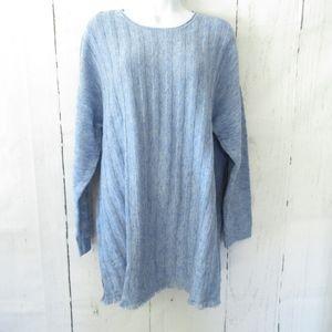 J Jill Sweater Fringe Button Back Plus Size